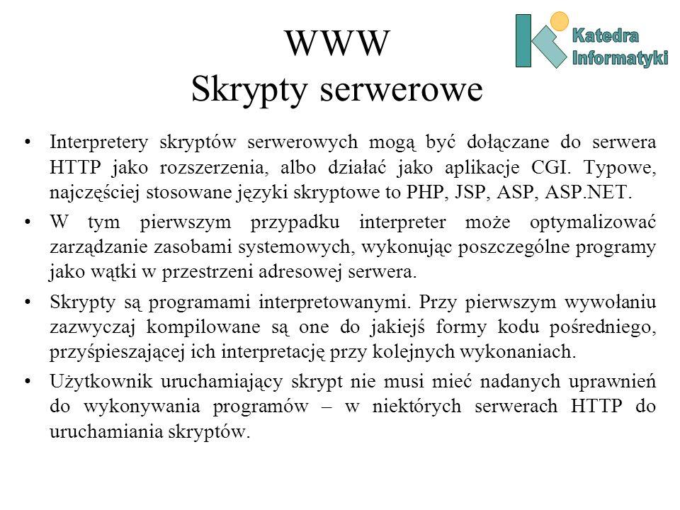 WWW Skrypty serwerowe Interpretery skryptów serwerowych mogą być dołączane do serwera HTTP jako rozszerzenia, albo działać jako aplikacje CGI.