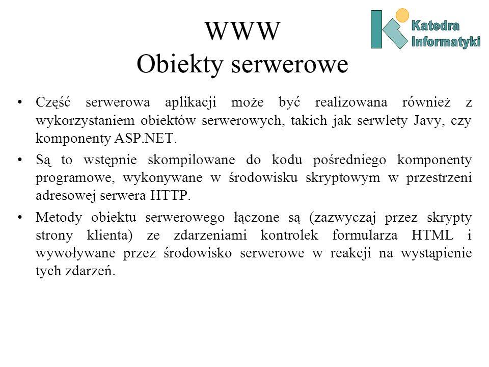 WWW Obiekty serwerowe Część serwerowa aplikacji może być realizowana również z wykorzystaniem obiektów serwerowych, takich jak serwlety Javy, czy komponenty ASP.NET.