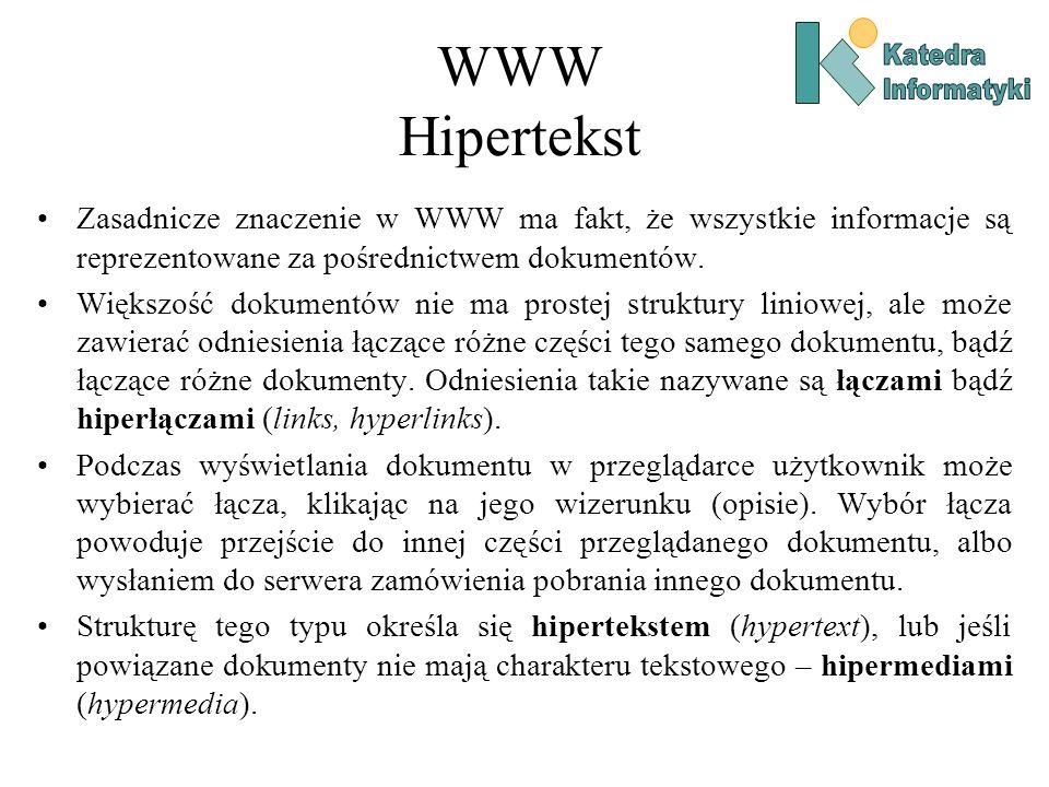 WWW Hipertekst Zasadnicze znaczenie w WWW ma fakt, że wszystkie informacje są reprezentowane za pośrednictwem dokumentów.