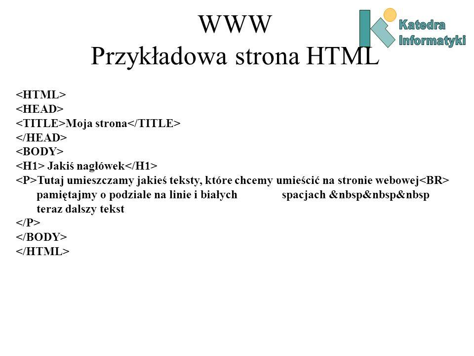 WWW Przykładowa strona HTML Moja strona Jakiś nagłówek Tutaj umieszczamy jakieś teksty, które chcemy umieścić na stronie webowej pamiętajmy o podziale na linie i białych spacjach &nbsp&nbsp&nbsp teraz dalszy tekst