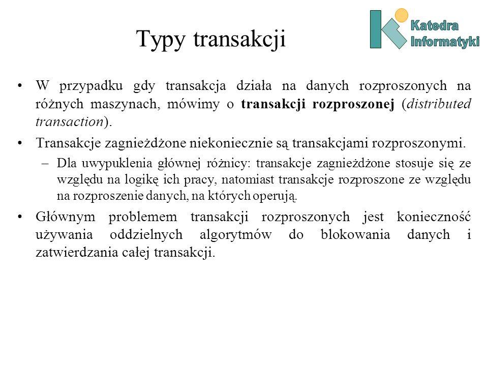 Typy transakcji W przypadku gdy transakcja działa na danych rozproszonych na różnych maszynach, mówimy o transakcji rozproszonej (distributed transact