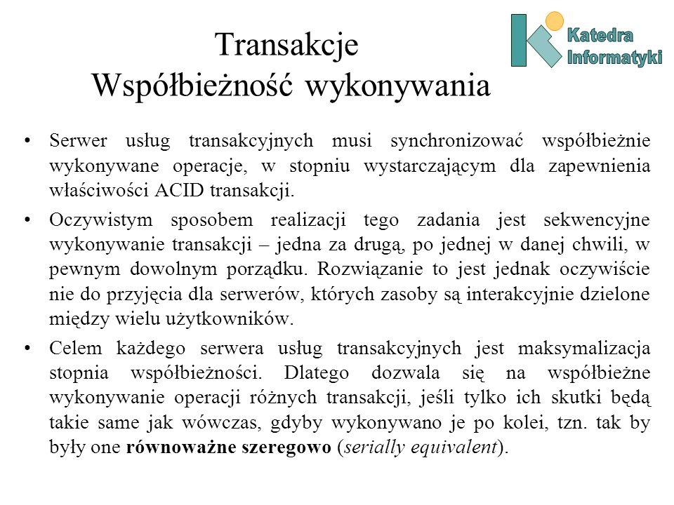 Transakcje Współbieżność wykonywania Serwer usług transakcyjnych musi synchronizować współbieżnie wykonywane operacje, w stopniu wystarczającym dla za