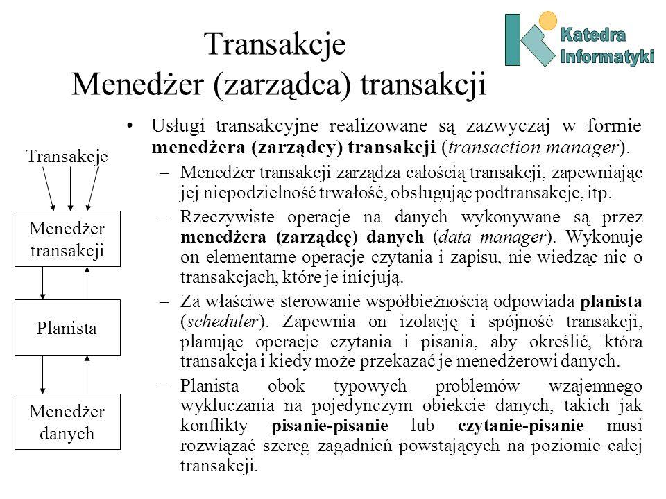 Transakcje Menedżer (zarządca) transakcji Usługi transakcyjne realizowane są zazwyczaj w formie menedżera (zarządcy) transakcji (transaction manager).