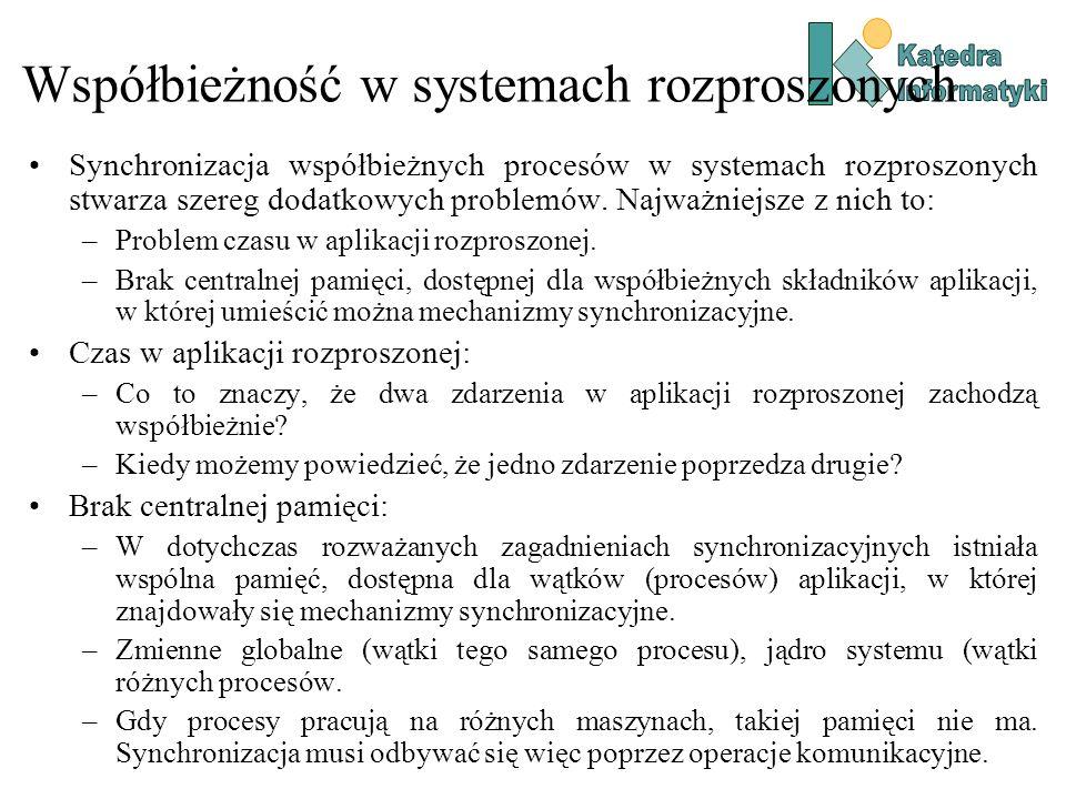 Współbieżność w systemach rozproszonych Synchronizacja współbieżnych procesów w systemach rozproszonych stwarza szereg dodatkowych problemów. Najważni