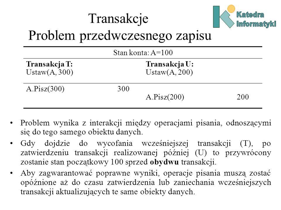 Transakcje Problem przedwczesnego zapisu Problem wynika z interakcji między operacjami pisania, odnoszącymi się do tego samego obiektu danych. Gdy doj
