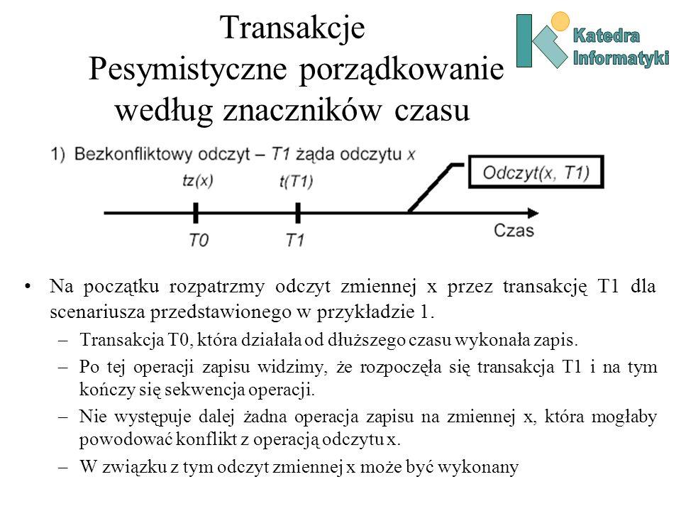 Transakcje Pesymistyczne porządkowanie według znaczników czasu Na początku rozpatrzmy odczyt zmiennej x przez transakcję T1 dla scenariusza przedstawi