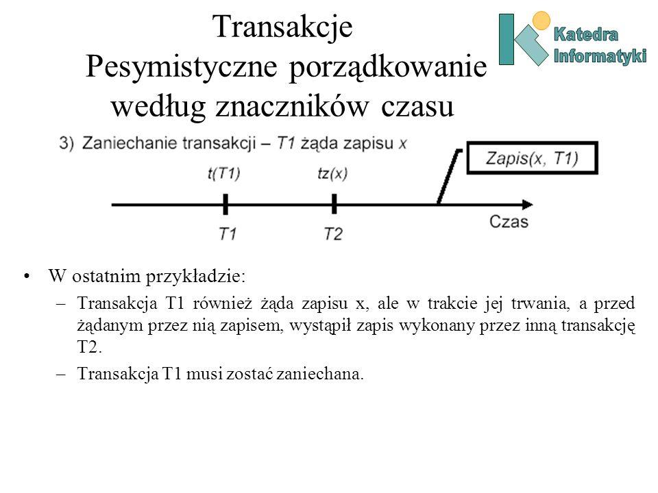 Transakcje Pesymistyczne porządkowanie według znaczników czasu W ostatnim przykładzie: –Transakcja T1 również żąda zapisu x, ale w trakcie jej trwania