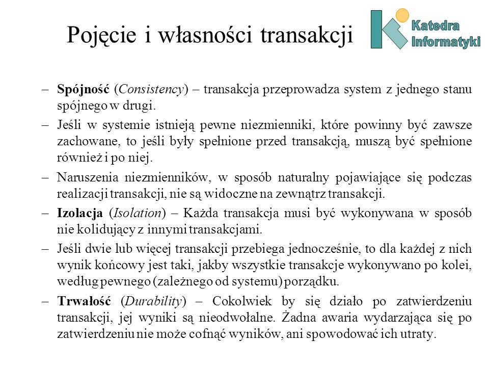 Pojęcie i własności transakcji –Spójność (Consistency) – transakcja przeprowadza system z jednego stanu spójnego w drugi. –Jeśli w systemie istnieją p