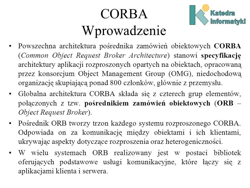 CORBA Wprowadzenie Powszechna architektura pośrednika zamówień obiektowych CORBA (Common Object Request Broker Architecture) stanowi specyfikację architektury aplikacji rozproszonych opartych na obiektach, opracowaną przez konsorcjum Object Management Group (OMG), niedochodową organizację skupiającą ponad 800 członków, głównie z przemysłu.