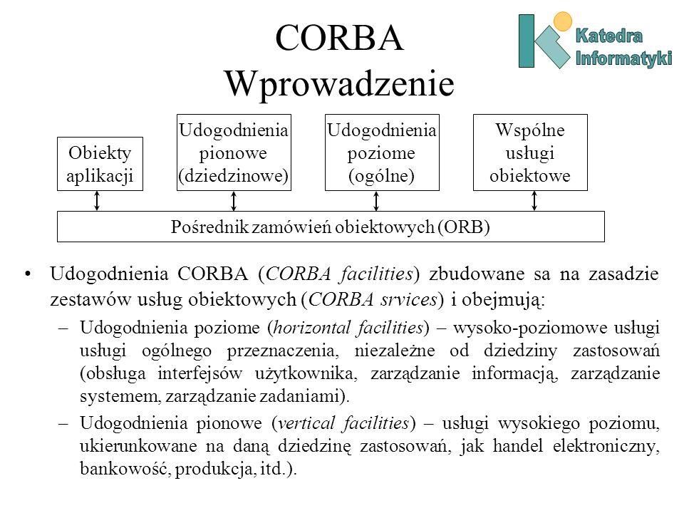 CORBA Wprowadzenie Udogodnienia CORBA (CORBA facilities) zbudowane sa na zasadzie zestawów usług obiektowych (CORBA srvices) i obejmują: –Udogodnienia poziome (horizontal facilities) – wysoko-poziomowe usługi usługi ogólnego przeznaczenia, niezależne od dziedziny zastosowań (obsługa interfejsów użytkownika, zarządzanie informacją, zarządzanie systemem, zarządzanie zadaniami).