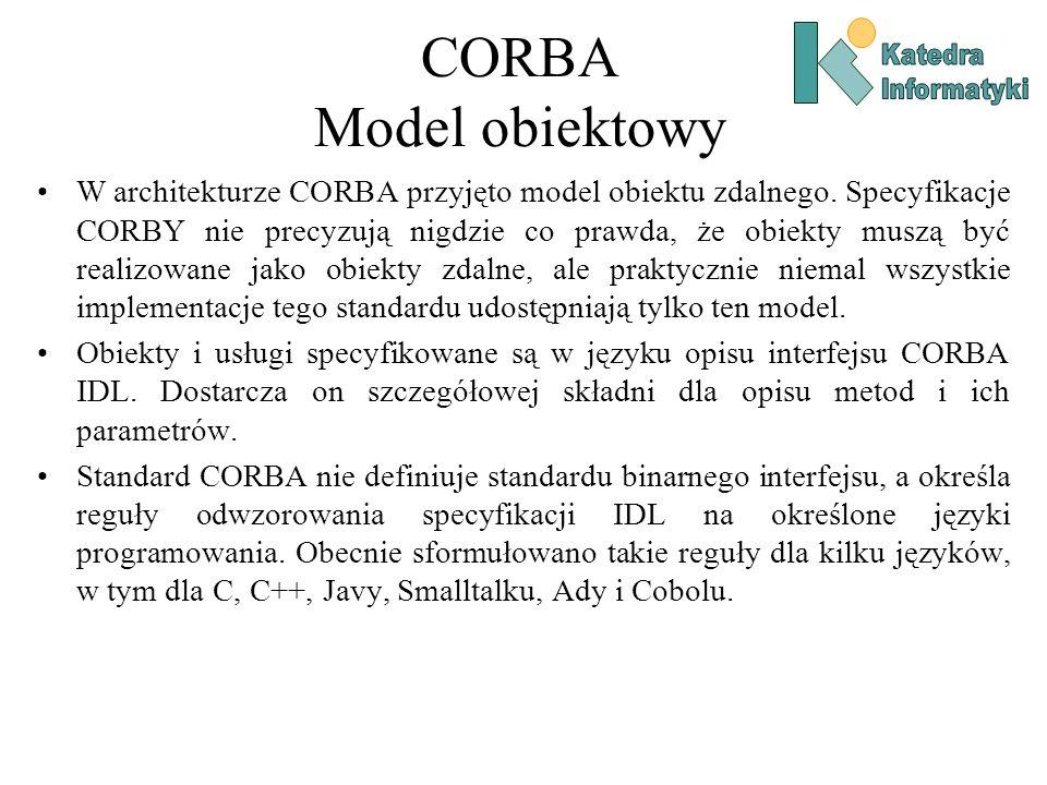 CORBA Model obiektowy W architekturze CORBA przyjęto model obiektu zdalnego.