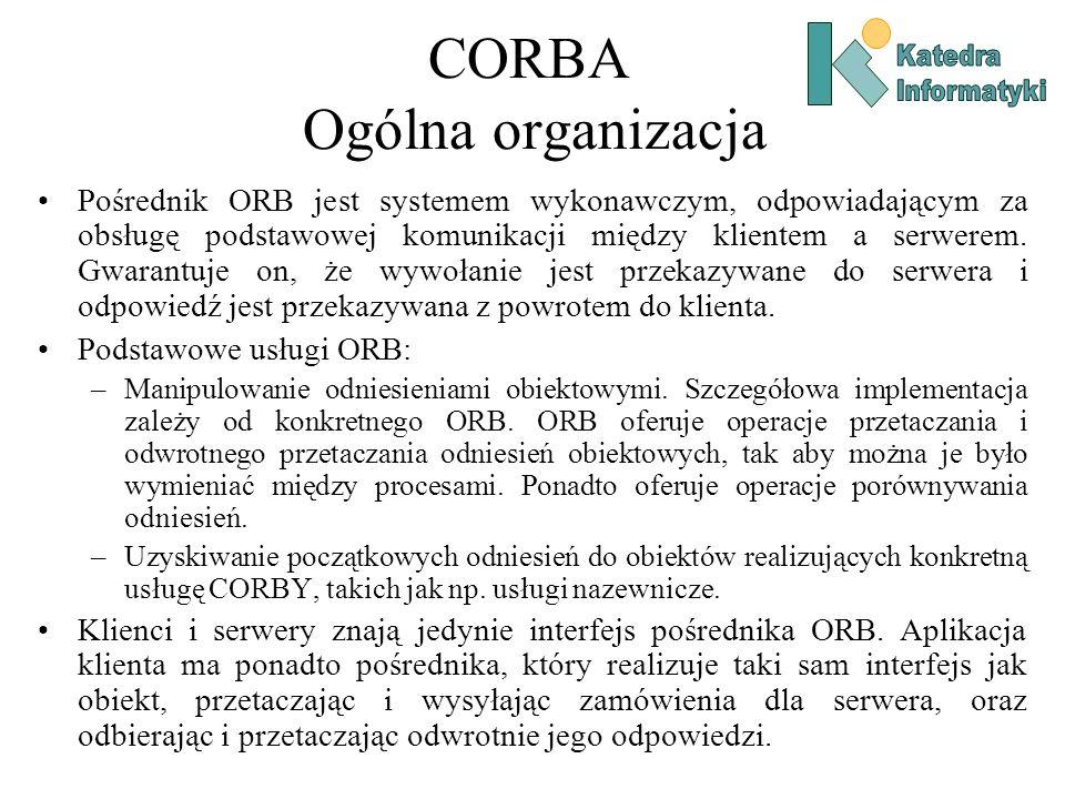 CORBA Ogólna organizacja Pośrednik ORB jest systemem wykonawczym, odpowiadającym za obsługę podstawowej komunikacji między klientem a serwerem.