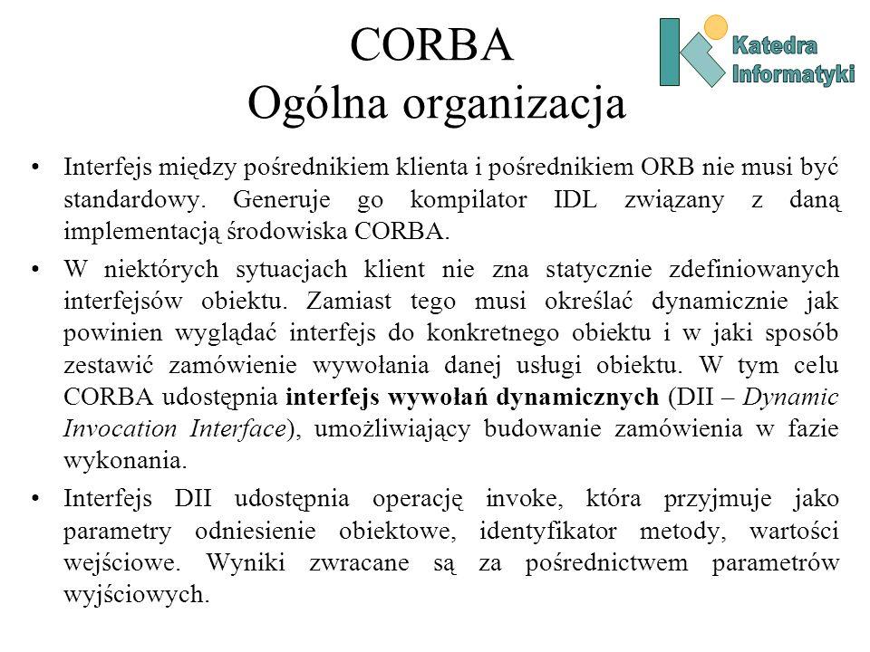 CORBA Ogólna organizacja Interfejs między pośrednikiem klienta i pośrednikiem ORB nie musi być standardowy.