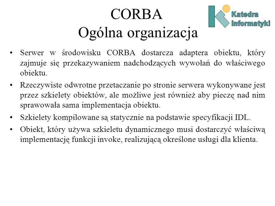 CORBA Ogólna organizacja Serwer w środowisku CORBA dostarcza adaptera obiektu, który zajmuje się przekazywaniem nadchodzących wywołań do właściwego obiektu.