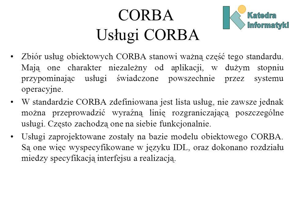 CORBA Usługi CORBA Zbiór usług obiektowych CORBA stanowi ważną część tego standardu.