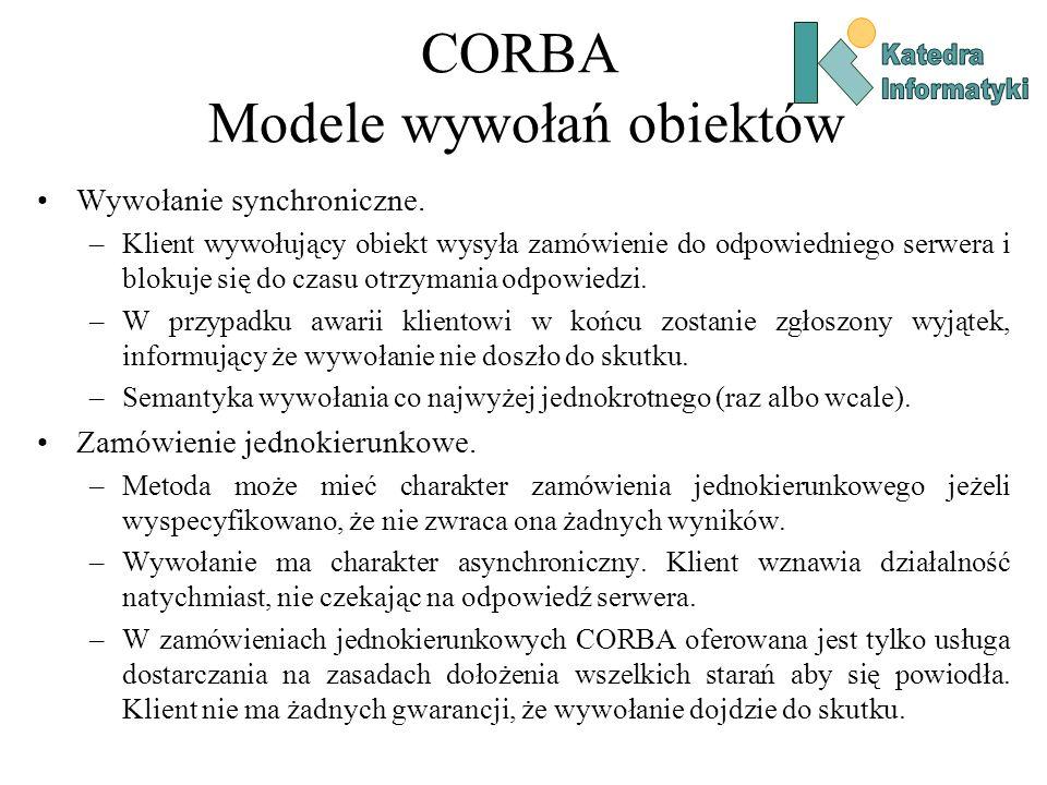 CORBA Modele wywołań obiektów Wywołanie synchroniczne.