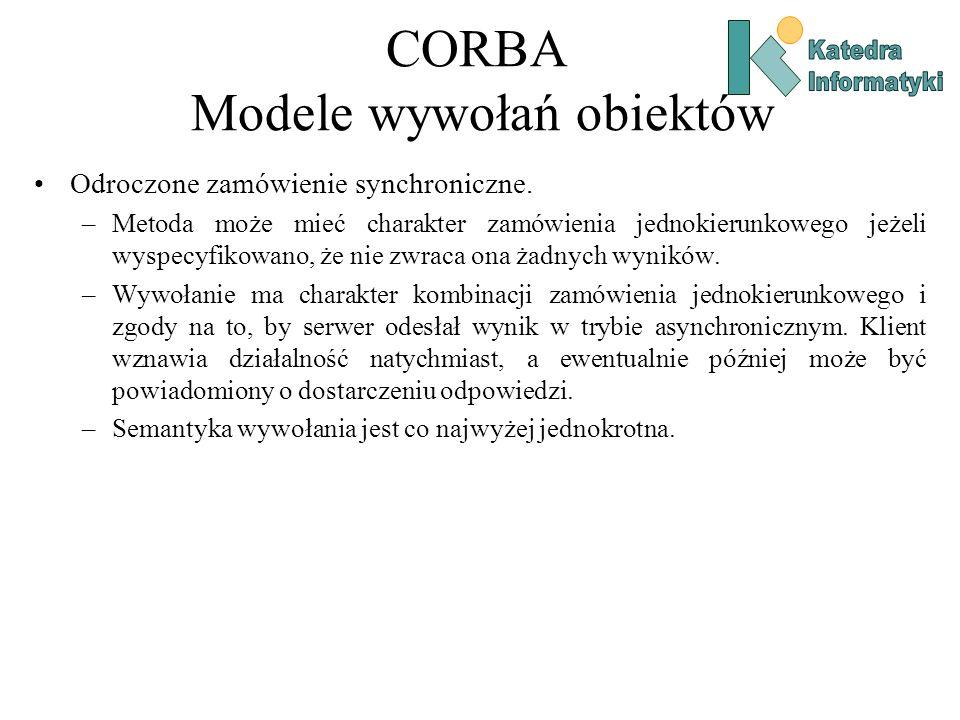 CORBA Modele wywołań obiektów Odroczone zamówienie synchroniczne.