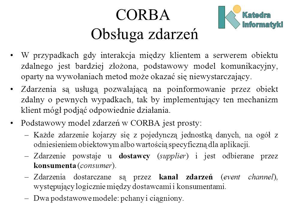 CORBA Obsługa zdarzeń W przypadkach gdy interakcja między klientem a serwerem obiektu zdalnego jest bardziej złożona, podstawowy model komunikacyjny, oparty na wywołaniach metod może okazać się niewystarczający.