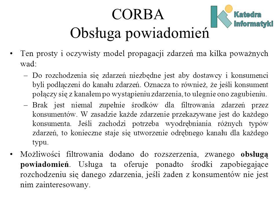 CORBA Obsługa powiadomień Ten prosty i oczywisty model propagacji zdarzeń ma kilka poważnych wad: –Do rozchodzenia się zdarzeń niezbędne jest aby dostawcy i konsumenci byli podłączeni do kanału zdarzeń.