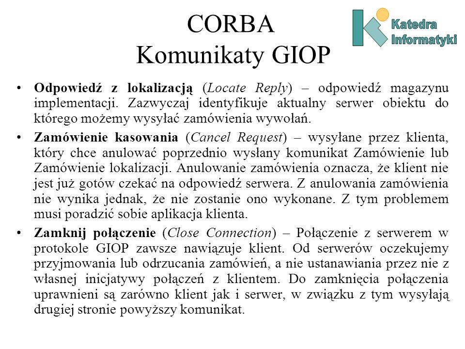CORBA Komunikaty GIOP Odpowiedź z lokalizacją (Locate Reply) – odpowiedź magazynu implementacji.