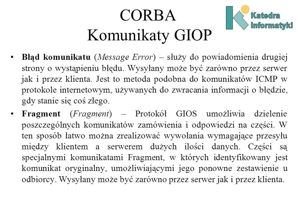 CORBA Komunikaty GIOP Błąd komunikatu (Message Error) – służy do powiadomienia drugiej strony o wystąpieniu błędu.