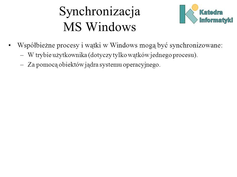 Synchronizacja MS Windows Współbieżne procesy i wątki w Windows mogą być synchronizowane: –W trybie użytkownika (dotyczy tylko wątków jednego procesu)