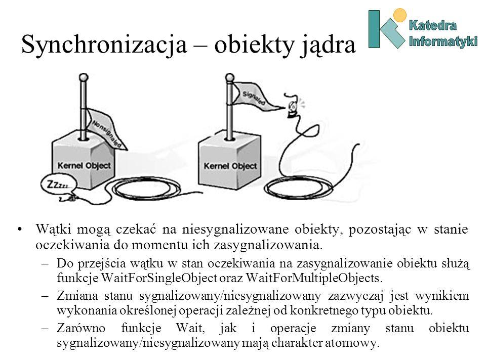 Synchronizacja – obiekty jądra Wątki mogą czekać na niesygnalizowane obiekty, pozostając w stanie oczekiwania do momentu ich zasygnalizowania. –Do prz