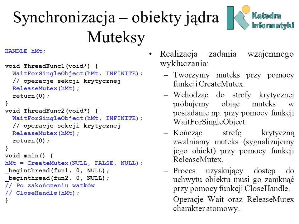 Synchronizacja – obiekty jądra Muteksy Realizacja zadania wzajemnego wykluczania: –Tworzymy muteks przy pomocy funkcji CreateMutex. –Wchodząc do stref