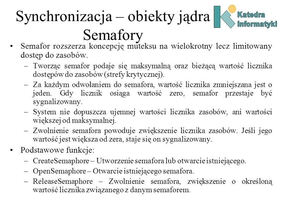 Synchronizacja – obiekty jądra Semafory Semafor rozszerza koncepcję muteksu na wielokrotny lecz limitowany dostęp do zasobów. –Tworząc semafor podaje
