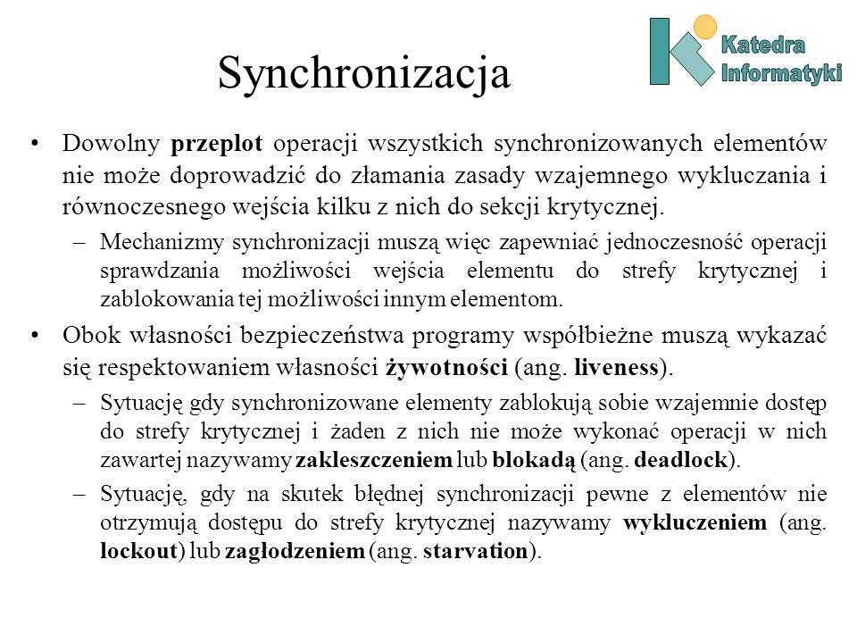 Synchronizacja Dowolny przeplot operacji wszystkich synchronizowanych elementów nie może doprowadzić do złamania zasady wzajemnego wykluczania i równoczesnego wejścia kilku z nich do sekcji krytycznej.