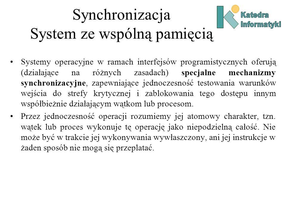 Synchronizacja System ze wspólną pamięcią Systemy operacyjne w ramach interfejsów programistycznych oferują (działające na różnych zasadach) specjalne mechanizmy synchronizacyjne, zapewniające jednoczesność testowania warunków wejścia do strefy krytycznej i zablokowania tego dostępu innym współbieżnie działającym wątkom lub procesom.