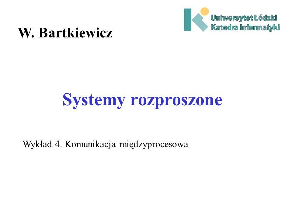 Systemy rozproszone W. Bartkiewicz Wykład 4. Komunikacja międzyprocesowa