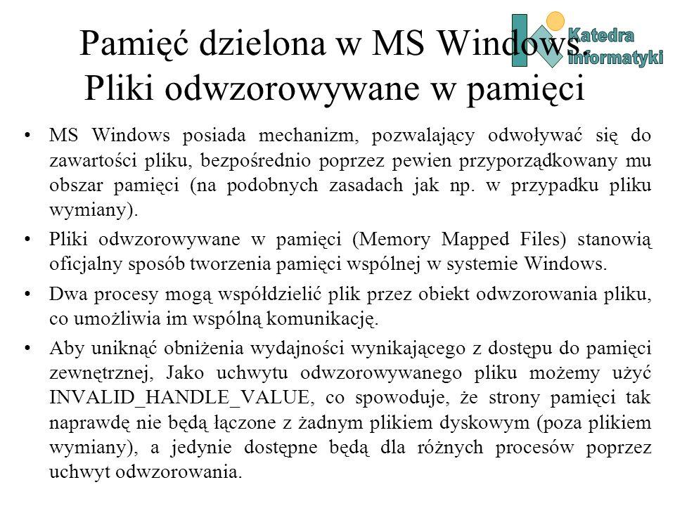 Pamięć dzielona w MS Windows. Pliki odwzorowywane w pamięci MS Windows posiada mechanizm, pozwalający odwoływać się do zawartości pliku, bezpośrednio