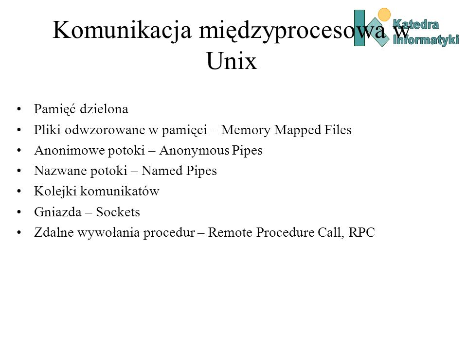 Komunikacja międzyprocesowa w Unix Pamięć dzielona Pliki odwzorowane w pamięci – Memory Mapped Files Anonimowe potoki – Anonymous Pipes Nazwane potoki
