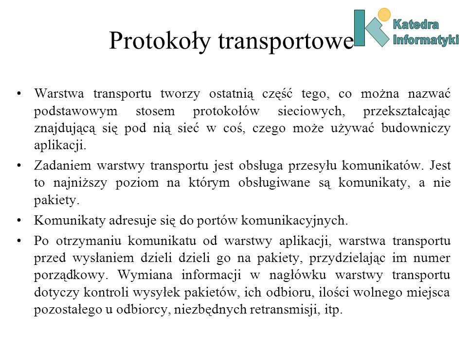 Protokoły transportowe Warstwa transportu tworzy ostatnią część tego, co można nazwać podstawowym stosem protokołów sieciowych, przekształcając znajdu