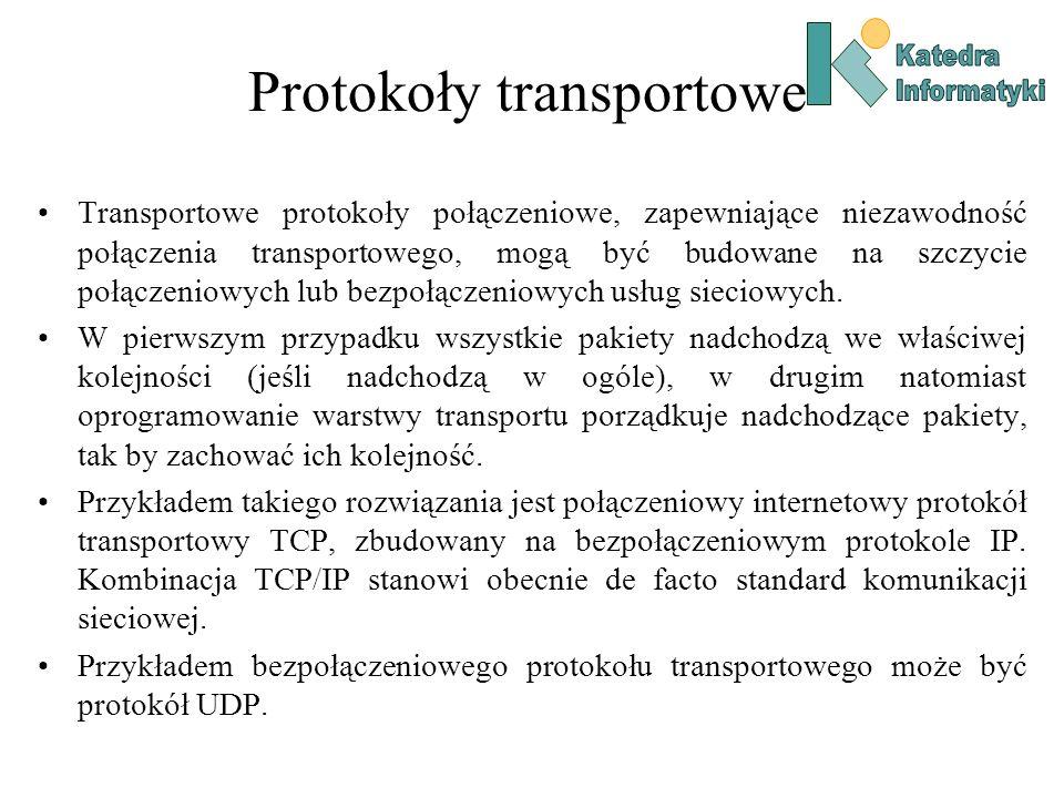 Protokoły transportowe Transportowe protokoły połączeniowe, zapewniające niezawodność połączenia transportowego, mogą być budowane na szczycie połącze