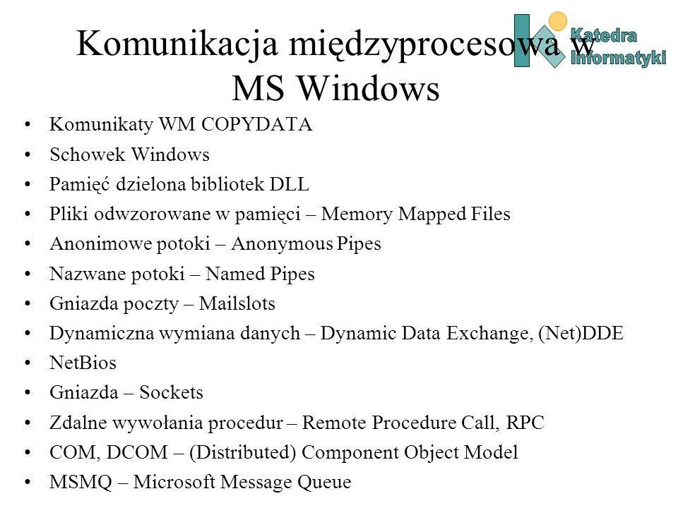 Gniazda – prosty serwer (1) int main(int argc, char **argv) { WSADATA wsd; SOCKET sListen, sClient; int iAddrSize; struct sockaddr_in local, client; if (WSAStartup(MAKEWORD(2,2), &wsd) != 0) { printf( Nie mozna wczytac biblioteki Winsock!\n ); return 1; } sListen = socket(AF_INET, SOCK_STREAM, 0); if (sListen == INVALID_SOCKET) { printf( Funckja socket() zakonczona bledem: %d\n , WSAGetLastError()); return 1; } local.sin_addr.s_addr = htonl(INADDR_ANY); local.sin_family = AF_INET; local.sin_port = htons(5150); //port na ktorym nasluchujemy if (bind(sListen, (struct sockaddr *)&local, sizeof(local)) == SOCKET_ERROR) { printf( Funkcja bind() zakonczona bledem: %d\n , WSAGetLastError()); return 1; } listen(sListen, 2);