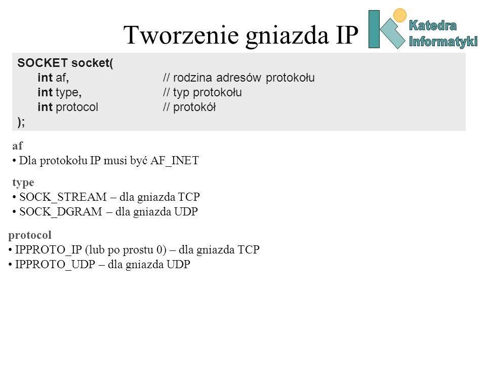 Tworzenie gniazda IP SOCKET socket( int af, // rodzina adresów protokołu int type, // typ protokołu int protocol // protokół ); af Dla protokołu IP mu