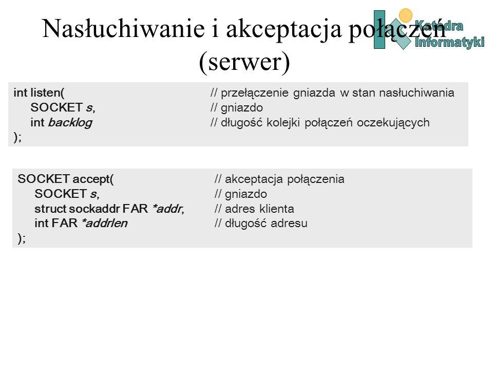 Nasłuchiwanie i akceptacja połączeń (serwer) int listen( // przełączenie gniazda w stan nasłuchiwania SOCKET s, // gniazdo int backlog // długość kole