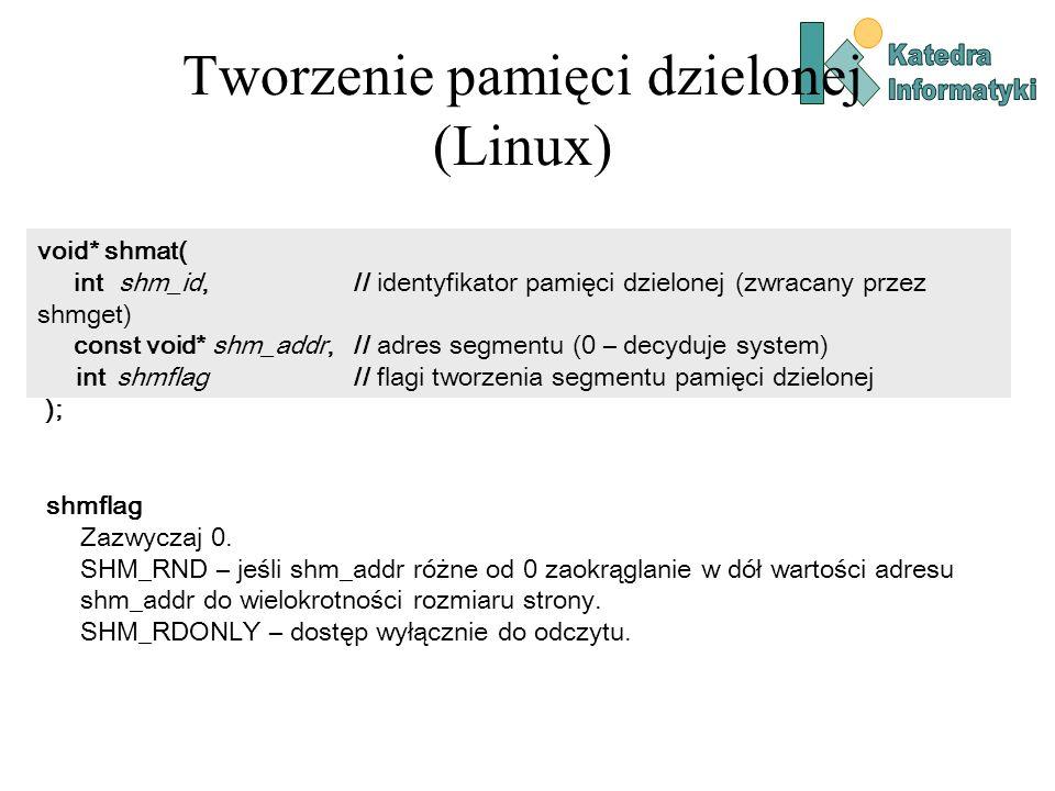 Tworzenie pamięci dzielonej (Linux) void* shmat( int shm_id, // identyfikator pamięci dzielonej (zwracany przez shmget) const void* shm_addr, // adres