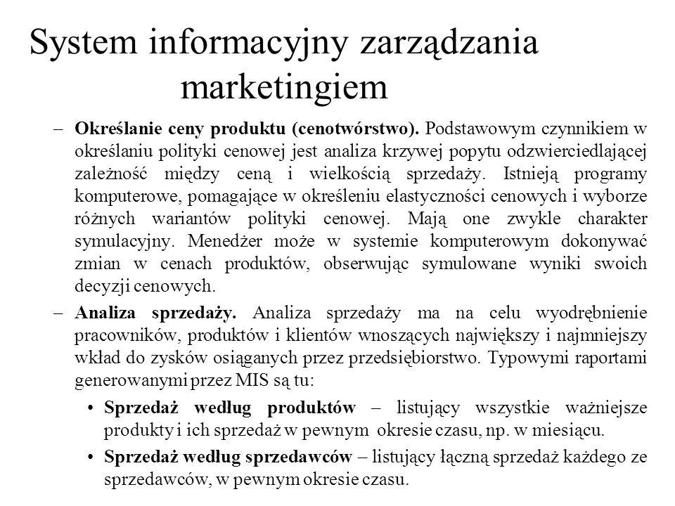–Określanie ceny produktu (cenotwórstwo). Podstawowym czynnikiem w określaniu polityki cenowej jest analiza krzywej popytu odzwierciedlającej zależnoś