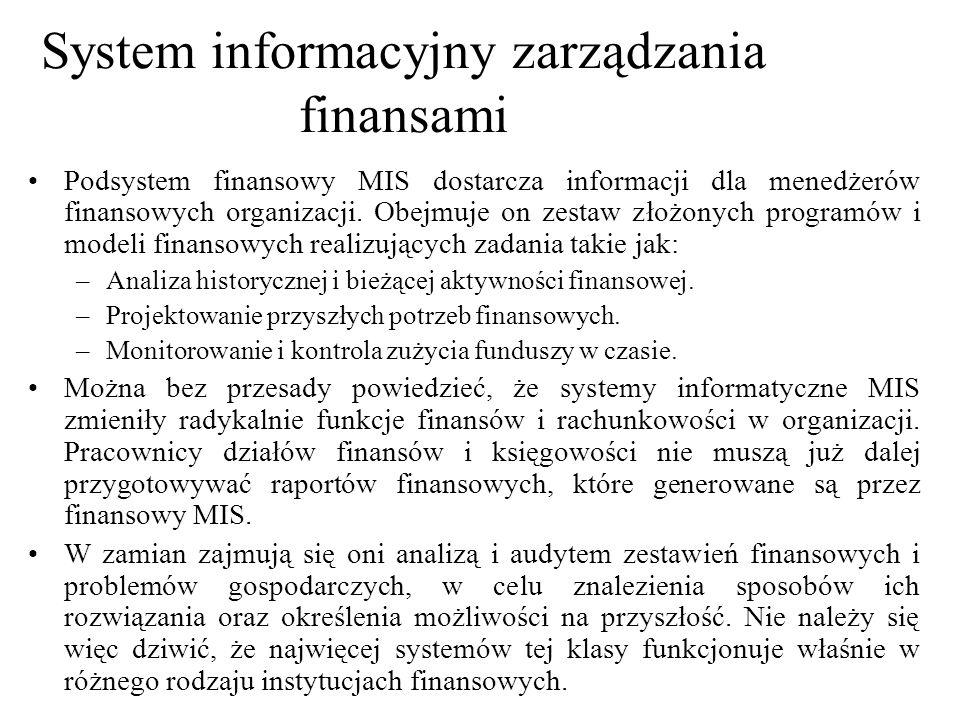 Podsystem finansowy MIS dostarcza informacji dla menedżerów finansowych organizacji. Obejmuje on zestaw złożonych programów i modeli finansowych reali