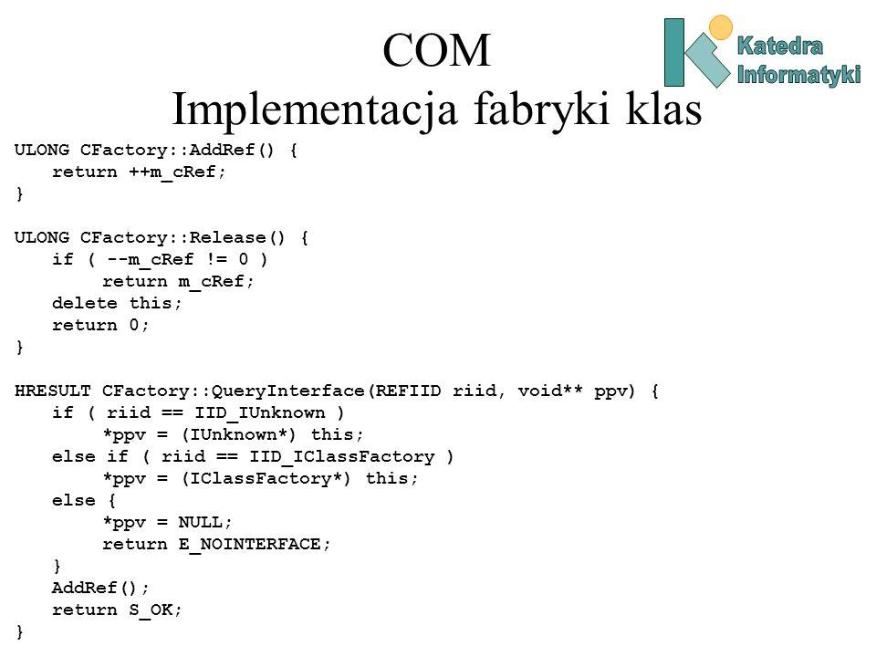 COM Implementacja fabryki klas ULONG CFactory::AddRef() { return ++m_cRef; } ULONG CFactory::Release() { if ( --m_cRef != 0 ) return m_cRef; delete th