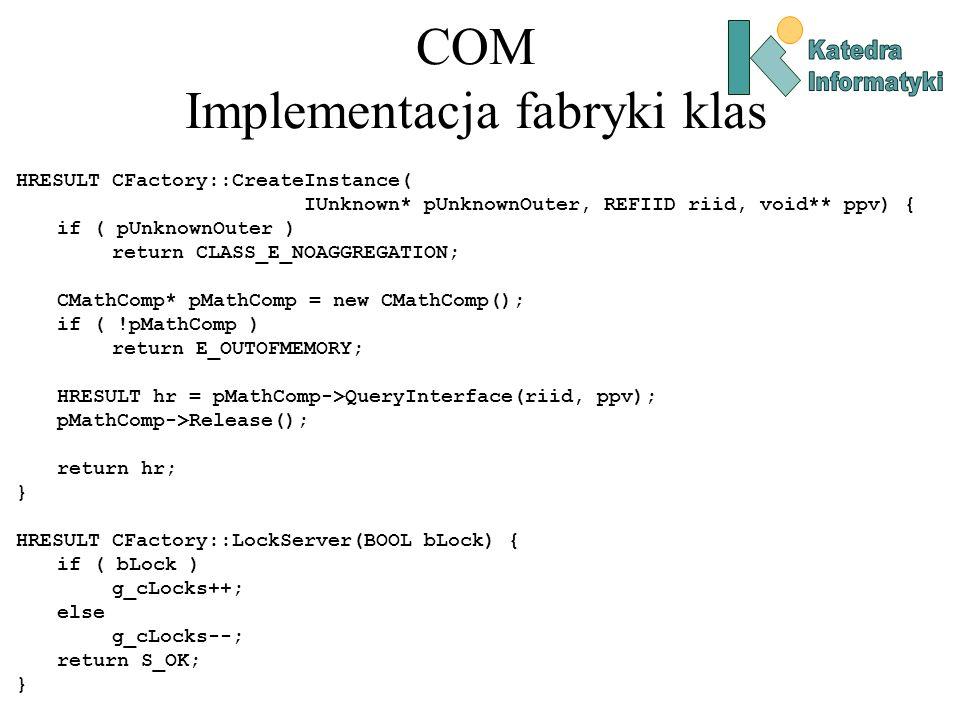 COM Implementacja fabryki klas HRESULT CFactory::CreateInstance( IUnknown* pUnknownOuter, REFIID riid, void** ppv) { if ( pUnknownOuter ) return CLASS