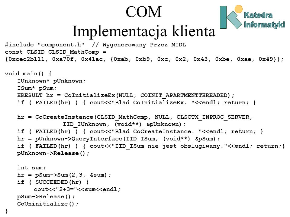 COM Implementacja klienta #include