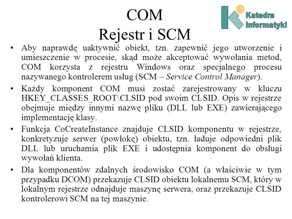 COM Rejestr i SCM Aby naprawdę uaktywnić obiekt, tzn. zapewnić jego utworzenie i umieszczenie w procesie, skąd może akceptować wywołania metod, COM ko