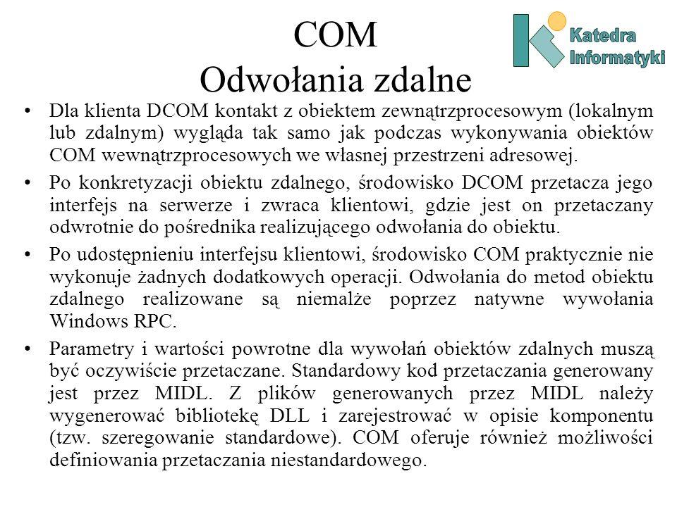 COM Odwołania zdalne Dla klienta DCOM kontakt z obiektem zewnątrzprocesowym (lokalnym lub zdalnym) wygląda tak samo jak podczas wykonywania obiektów C