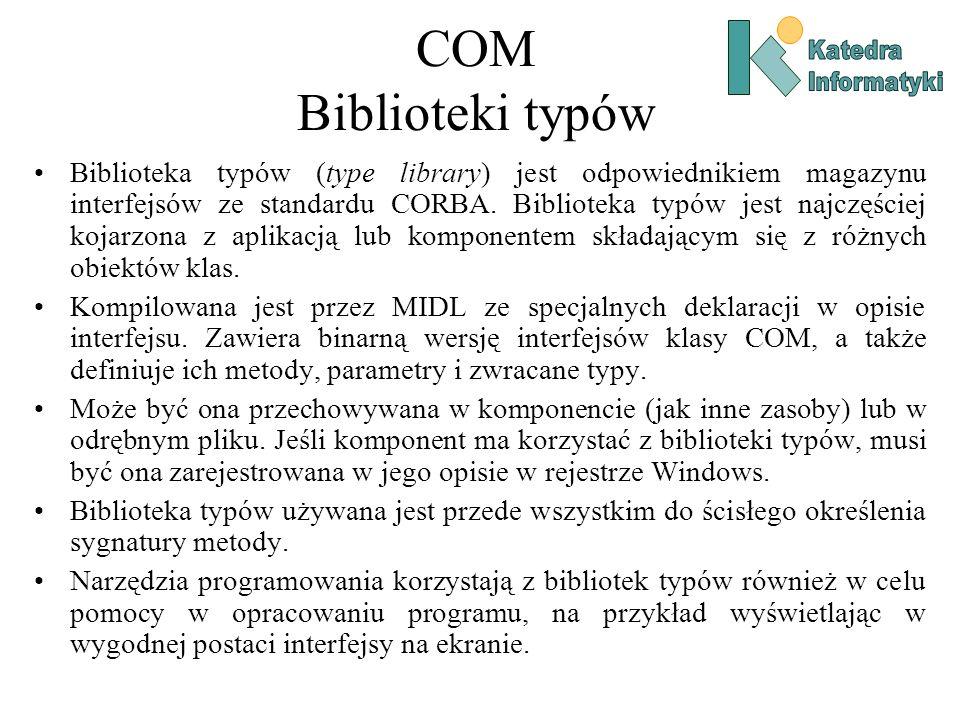 COM Biblioteki typów Biblioteka typów (type library) jest odpowiednikiem magazynu interfejsów ze standardu CORBA. Biblioteka typów jest najczęściej ko