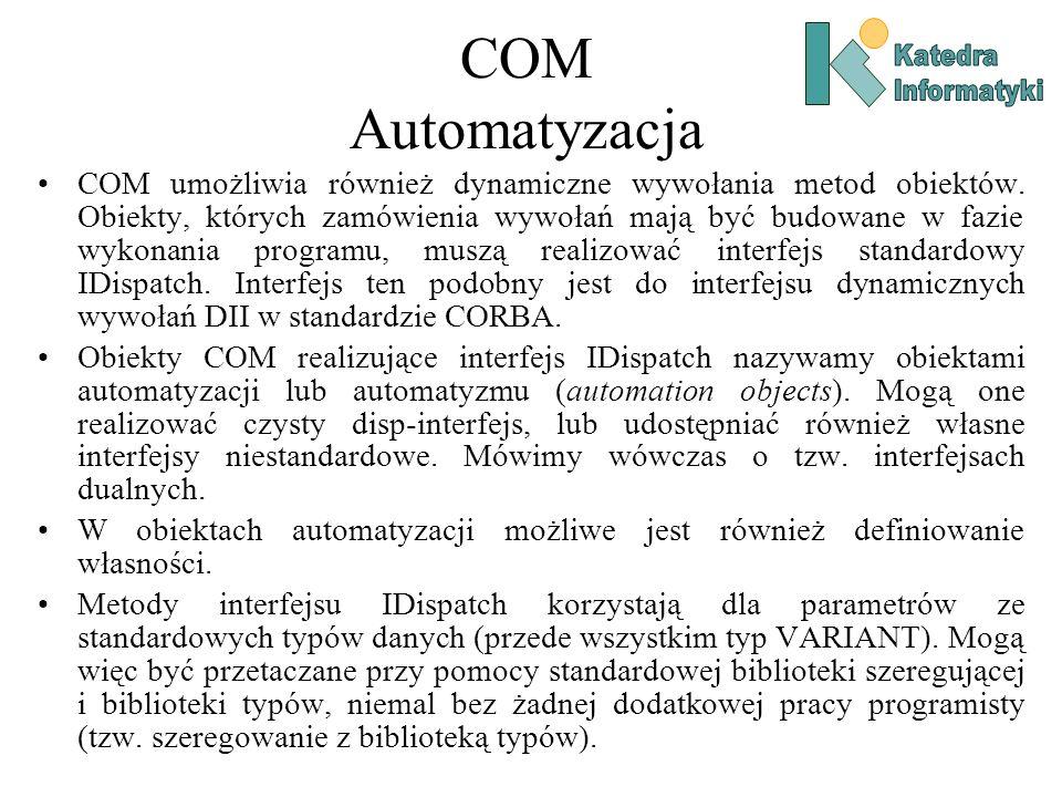 COM Automatyzacja COM umożliwia również dynamiczne wywołania metod obiektów. Obiekty, których zamówienia wywołań mają być budowane w fazie wykonania p