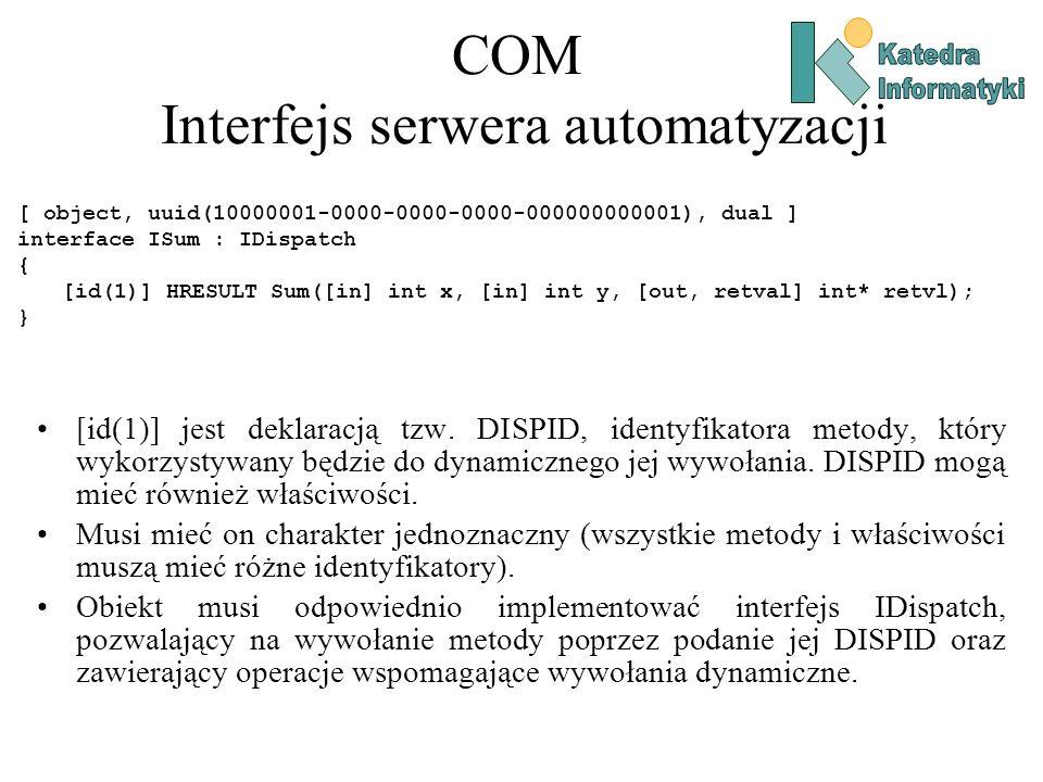 COM Interfejs serwera automatyzacji [ object, uuid(10000001-0000-0000-0000-000000000001), dual ] interface ISum : IDispatch { [id(1)] HRESULT Sum([in]